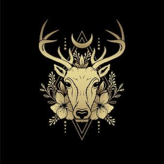 Têtes de cerf avec cornes, lune et ornements plantés. illustration de luxe. un symbole de magie mystique