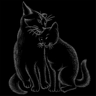 Têtes de chat en style dessiné