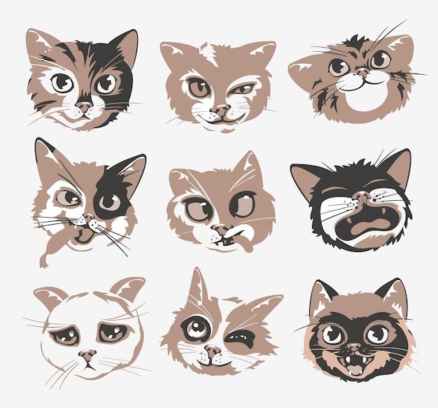 Les têtes de chats font face à un ensemble d'illustrations vectorielles d'émoticônes.