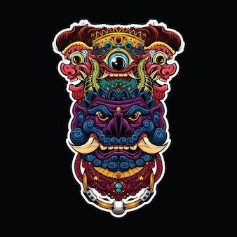 Têtes de démon mythiques et un œil illustration traditionnelle du mal en couleur