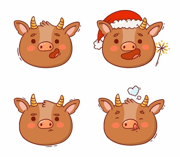 Têtes de dessin animé de taureaux différentes émotions