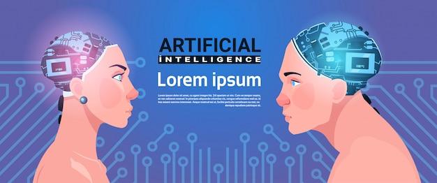Têtes masculines et féminines au cerveau cyborg moderne sur le concept d'intelligence artificielle, fond de circuit
