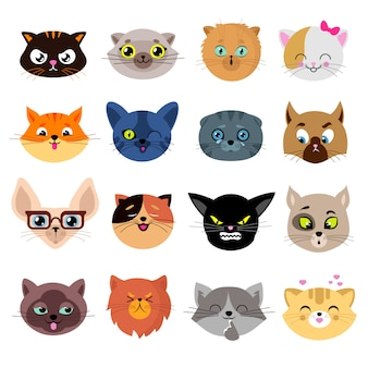 Têtes de personnages de chat mignon avec différentes émotions vectorielles set