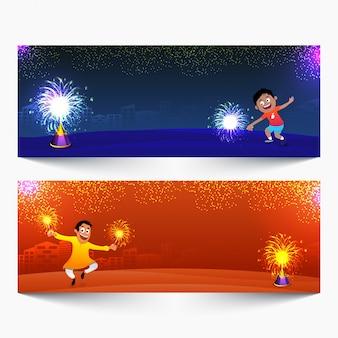 En-têtes de site web pour la célébration de happy diwali.
