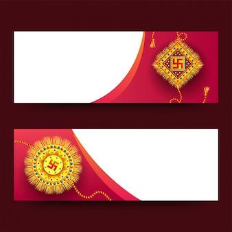 En-têtes de site web avec rakhi pour raksha bandhan.