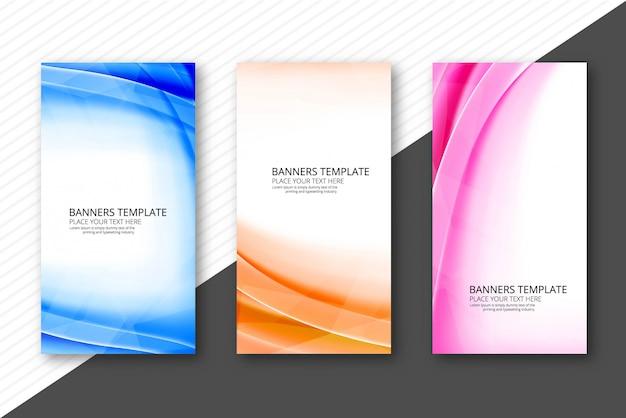 En-têtes de vagues colorées modernes mis en modèle de conception d'affaires