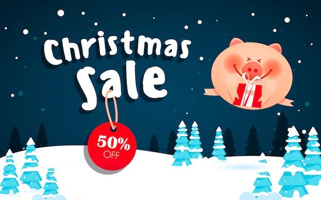 En-têtes de vente de noël avec cochon et paysage d'hiver