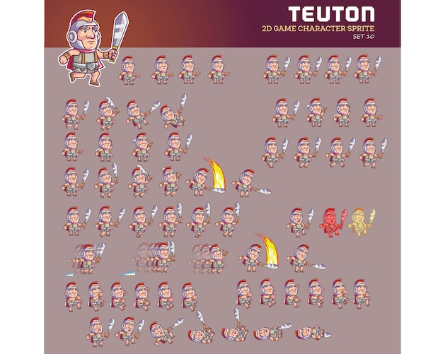 Teuton warrior cartoon personnage jeu d'animation sprite