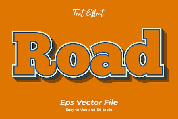 Text effect road facile à utiliser et modifiable vecteur premium