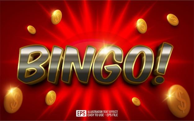 Texte 3d créatif bingo! modèle d'effet de style modifiable