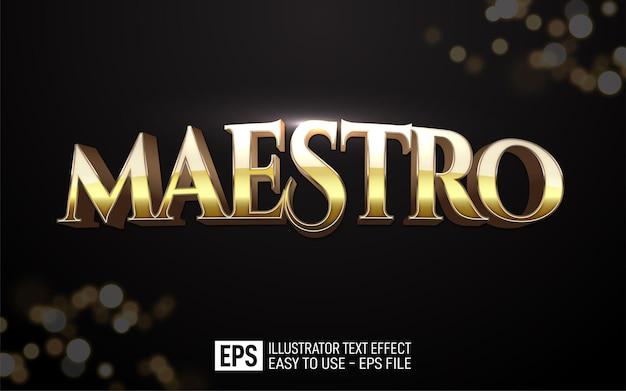Texte 3d créatif maestro, modèle d'effet de style modifiable
