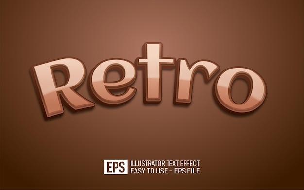 Texte 3d créatif modèle d'effet de style rétro et modifiable