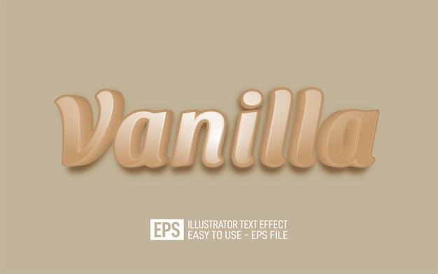 Texte 3d créatif vanille, modèle d'effet de style modifiable