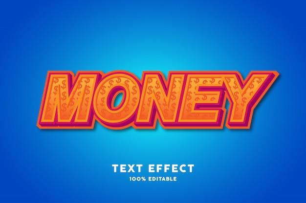 Texte 3d avec effet de texte motif dollar, texte modifiable