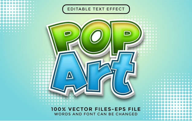 Texte 3d de pop art. effet de texte modifiable avec des vecteurs premium de style dessin animé