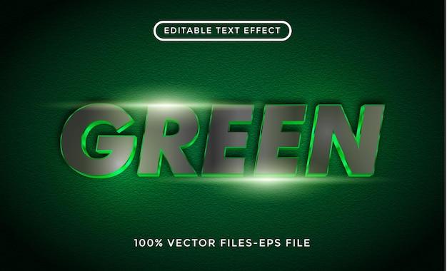 Texte 3d vert. vecteurs premium d'effet de texte modifiable