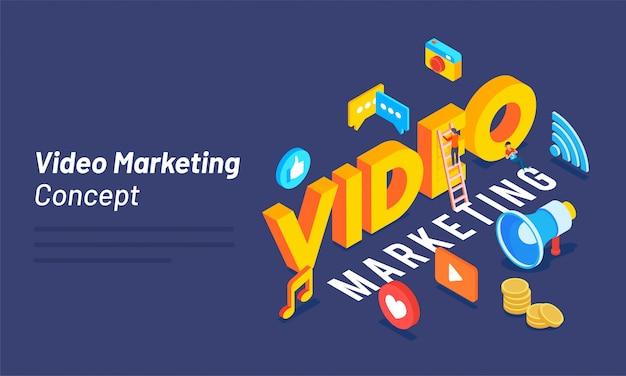 Texte 3d vidéo avec médias sociaux et outils marketing.