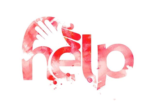 Texte d'aide avec la conception de logo de poignée de main, conception de vecteur