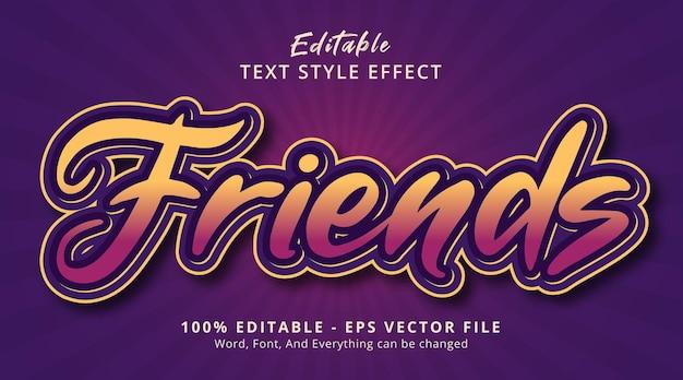 Texte d'amis sur l'effet de style de couleur moderne, effet de texte modifiable