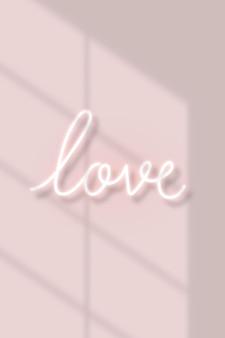 Texte d'amour au néon avec lumière naturelle