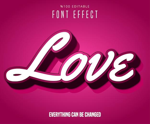 Texte d'amour, effet de police modifiable