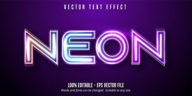 Texte au néon, effet de texte modifiable de style de signalisation de néons