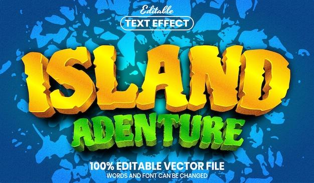 Texte d'aventure de l'île, effet de texte modifiable de style de police