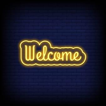 Texte de bienvenue au néon