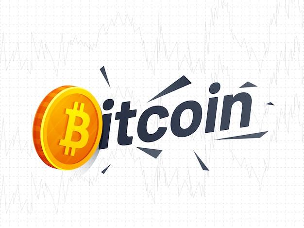 Texte bitcoin avec le symbole de la pièce d'or