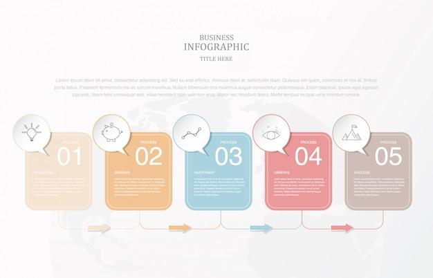 Texte de boîte carrée de papier infographie pour le modèle de diapositive de présentation.