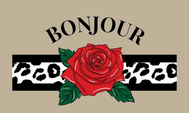 Texte de bonjourslogan décoratif avec peau de léopard et rose rouge