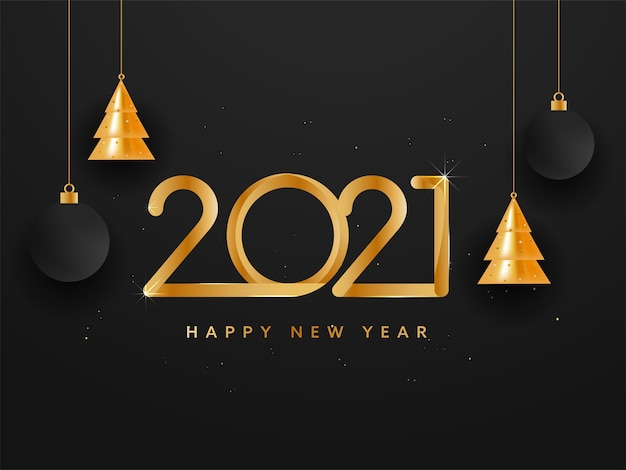 Texte de bonne année 2021 doré avec des arbres de noël brillants suspendus et des boules sur fond noir.