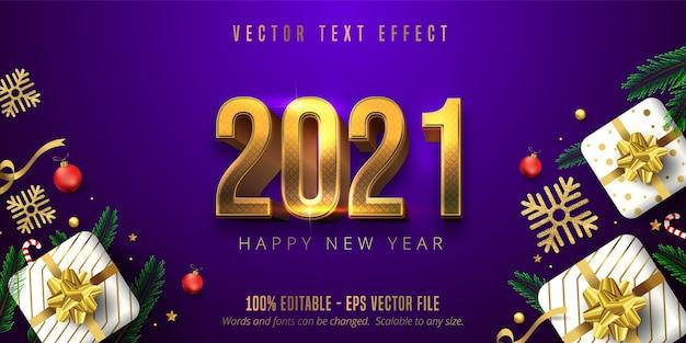 Texte de bonne année 2021, effet de texte modifiable de style noël or brillant