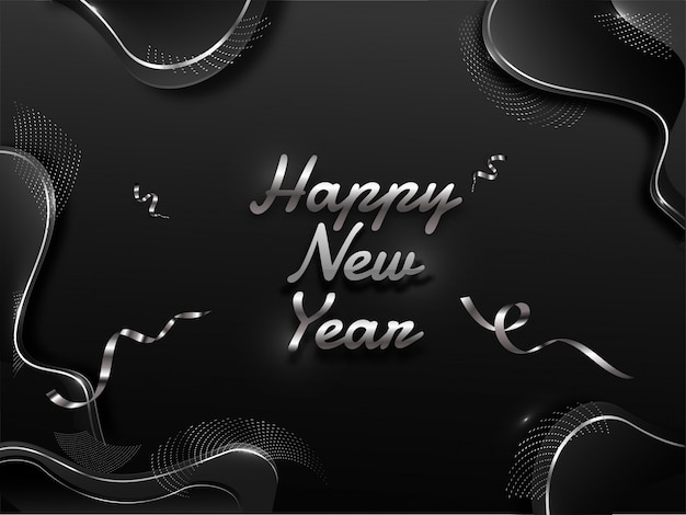 Texte de bonne année en argent avec ruban de confettis sur fond abstrait d'art fluide noir.