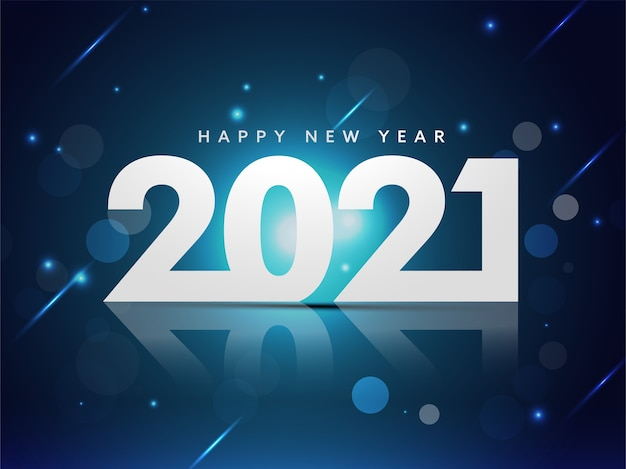 Texte de bonne année avec effet de lumières sur fond bleu.