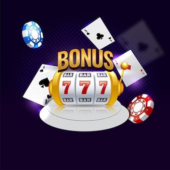 Texte de bonus d'or avec machine à sous 3d, cartes à jouer et jetons de poker sur fond violet.