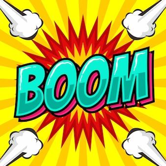 Texte de boom dans le style pop art comique