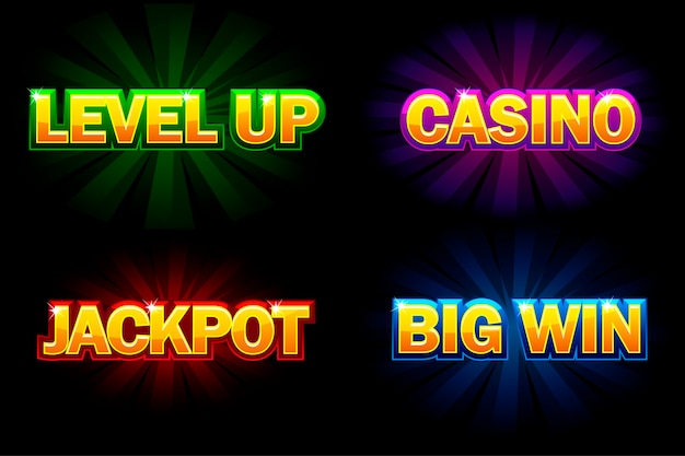 Texte brillant casino, jackpot, big win et level up. icônes pour casino, machines à sous, roulette et interface utilisateur de jeu. isolé sur des calques séparés