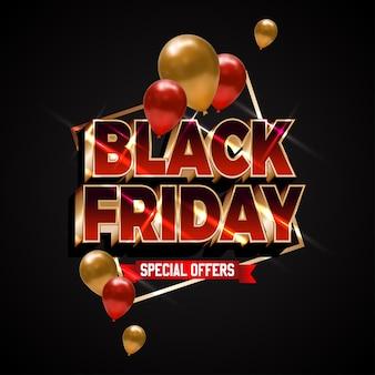 Texte brillant rouge gras pour la super vente du vendredi noir