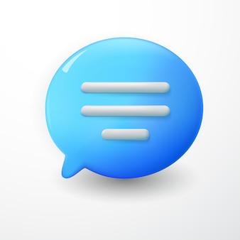 Texte de bulles de chat bleu minimal 3d sur fond blanc. concept de messages de médias sociaux. illustration de rendu 3d