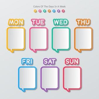 Texte bulles de forme carrée dans un calendrier