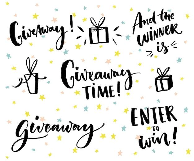 Texte cadeau et éléments de conception ensemble de lettrage et de cadeaux dessinés à la main concours de médias sociaux