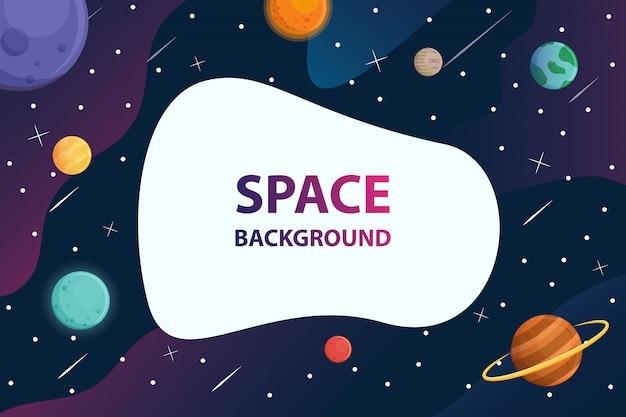 Texte de cadre blanc avec la planète au fond de la galaxie spatiale