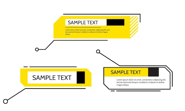 Texte de cadre de titre de légendes numériques hud ensemble de modèles de bannières modernes élément de conception vectorielle