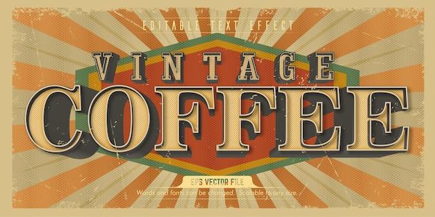 Texte de café, effet de texte modifiable de style ancien