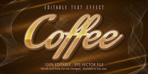 Texte de café, effet de texte modifiable de style café