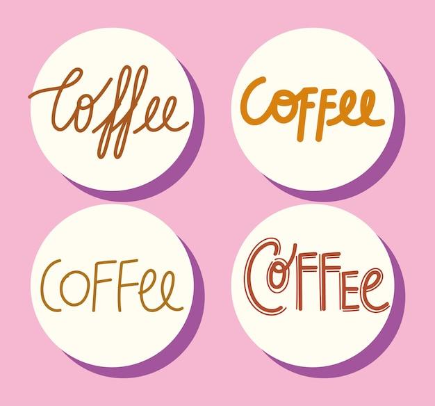 Texte de café fait à la main