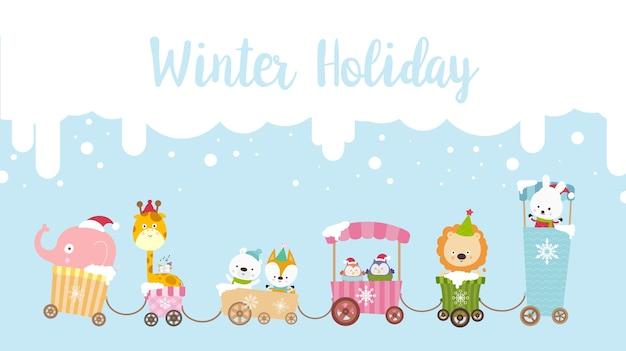Texte de calligraphie de vacances d'hiver avec dessin animé 001