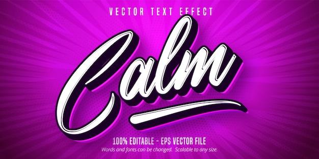 Texte calme, effet de texte modifiable de style pop art