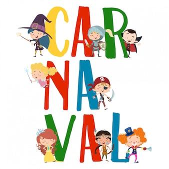 Texte de carnaval avec des personnages costumés